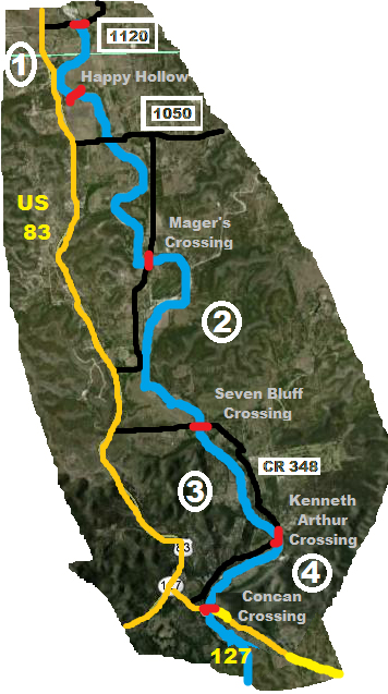 Click to enlarge Frio River map