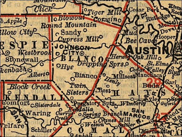 Historic Map of Blanco, circa 1900