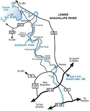 Click to enlarge Lower Guadalupe River map